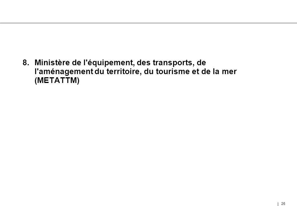 26 8.Ministère de l'équipement, des transports, de l'aménagement du territoire, du tourisme et de la mer (METATTM)