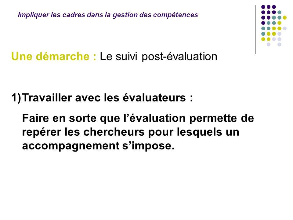 Impliquer les cadres dans la gestion des compétences Une démarche : Le suivi post-évaluation 1)Travailler avec les évaluateurs : Faire en sorte que lé