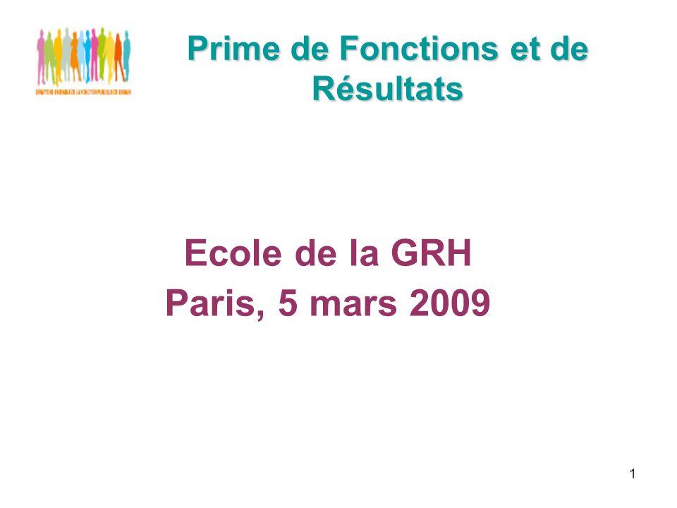1 Prime de Fonctions et de Résultats Ecole de la GRH Paris, 5 mars 2009