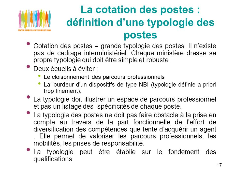 17 La cotation des postes : définition dune typologie des postes Cotation des postes = grande typologie des postes.