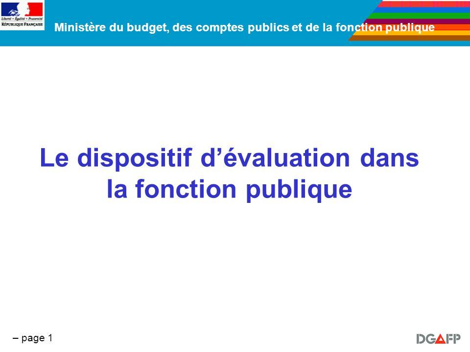 Ministère du budget, des comptes publics et de la fonction publique – page 1 Le dispositif dévaluation dans la fonction publique