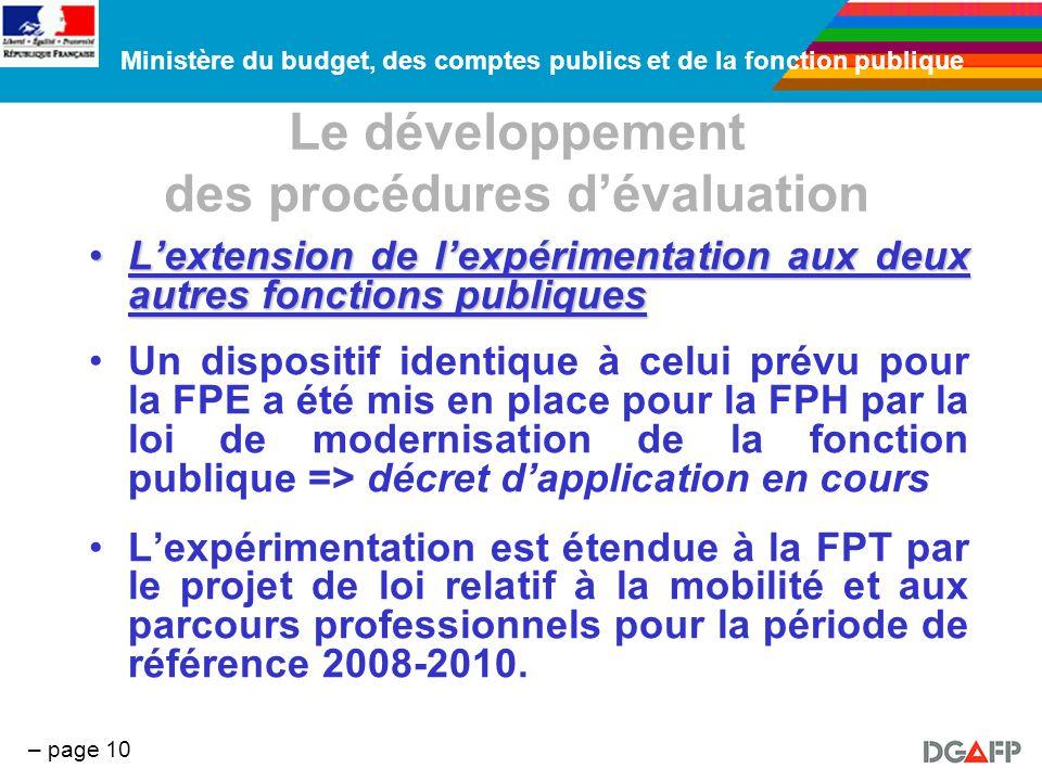 Ministère du budget, des comptes publics et de la fonction publique – page 10 Le développement des procédures dévaluation Lextension de lexpérimentati