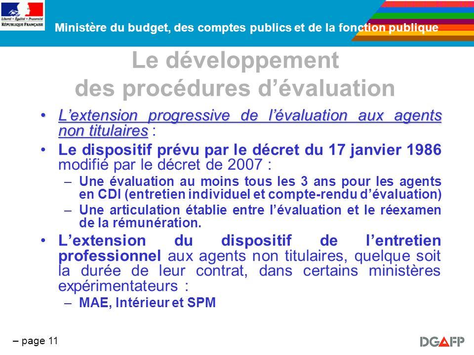 Ministère du budget, des comptes publics et de la fonction publique – page 11 Le développement des procédures dévaluation Lextension progressive de lé
