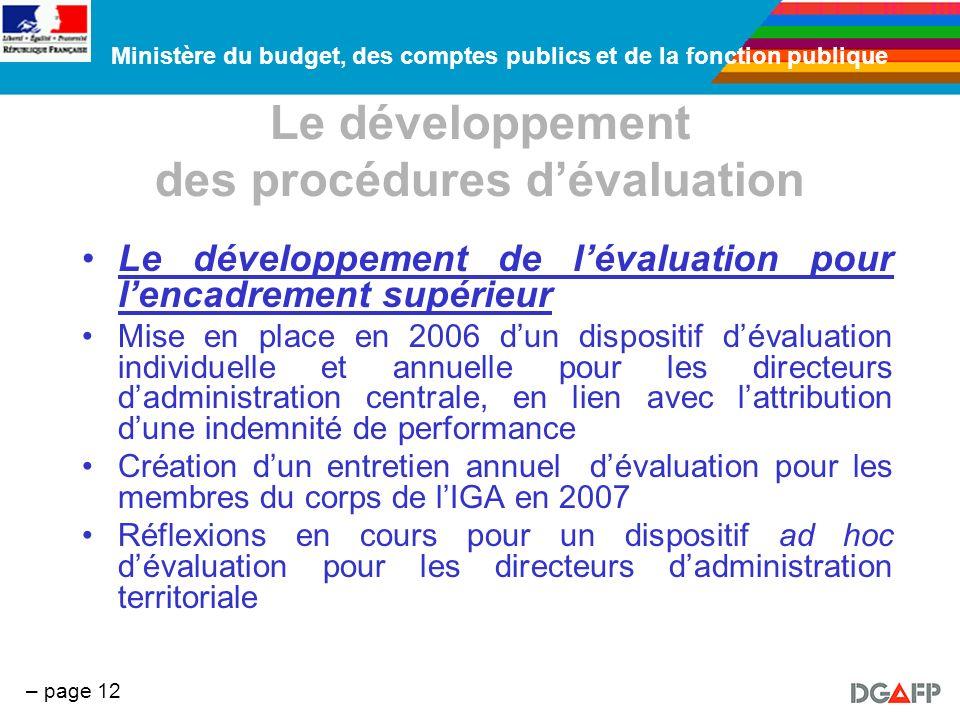 Ministère du budget, des comptes publics et de la fonction publique – page 12 Le développement des procédures dévaluation Le développement de lévaluat