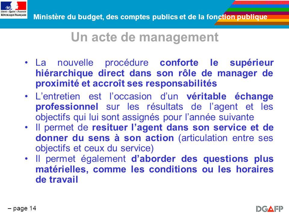 Ministère du budget, des comptes publics et de la fonction publique – page 14 Un acte de management La nouvelle procédure conforte le supérieur hiérar