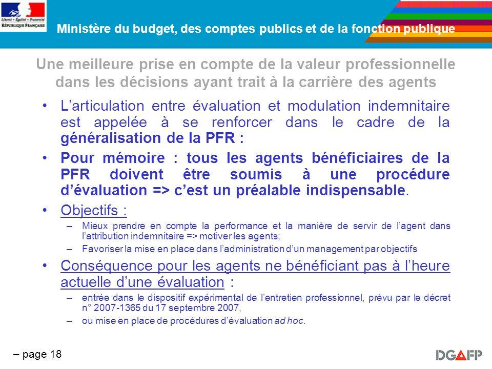 Ministère du budget, des comptes publics et de la fonction publique – page 18 Une meilleure prise en compte de la valeur professionnelle dans les déci