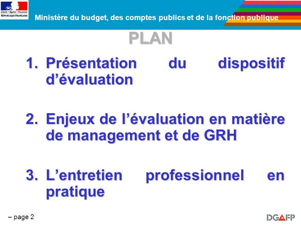 Ministère du budget, des comptes publics et de la fonction publique – page 2 PLAN 1.Présentation du dispositif dévaluation 2.Enjeux de lévaluation en