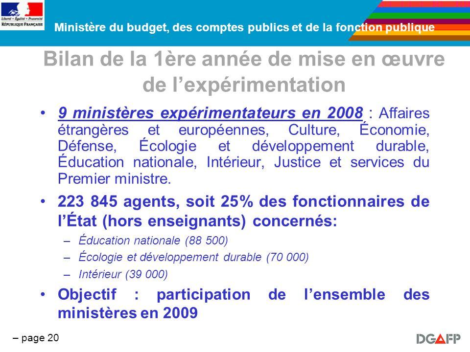 Ministère du budget, des comptes publics et de la fonction publique – page 20 Bilan de la 1ère année de mise en œuvre de lexpérimentation 9 ministères