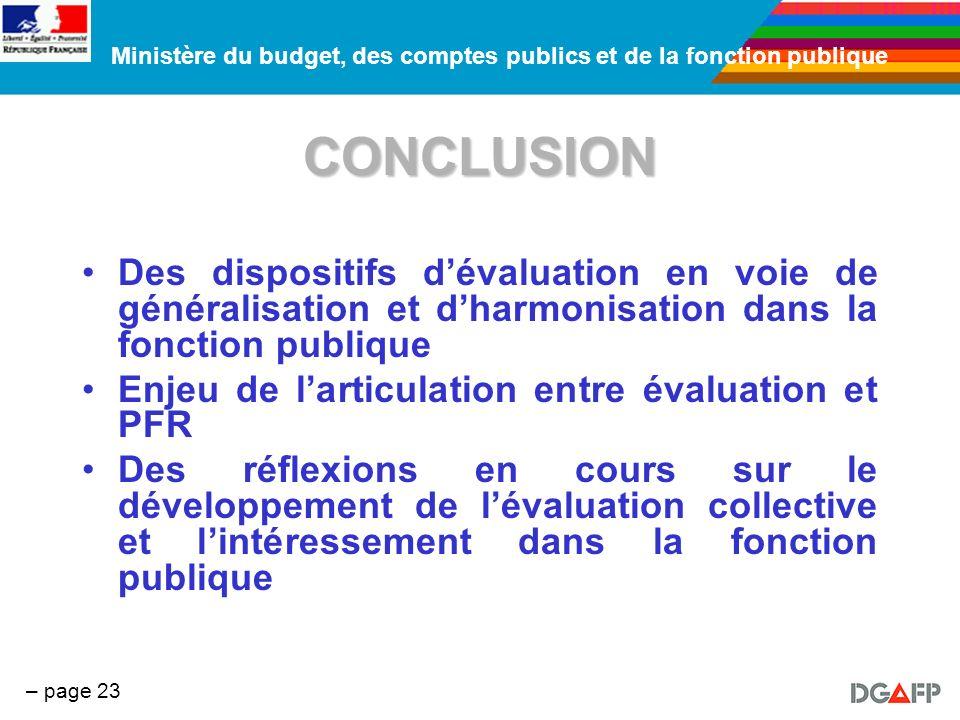 Ministère du budget, des comptes publics et de la fonction publique – page 23 CONCLUSION Des dispositifs dévaluation en voie de généralisation et dhar