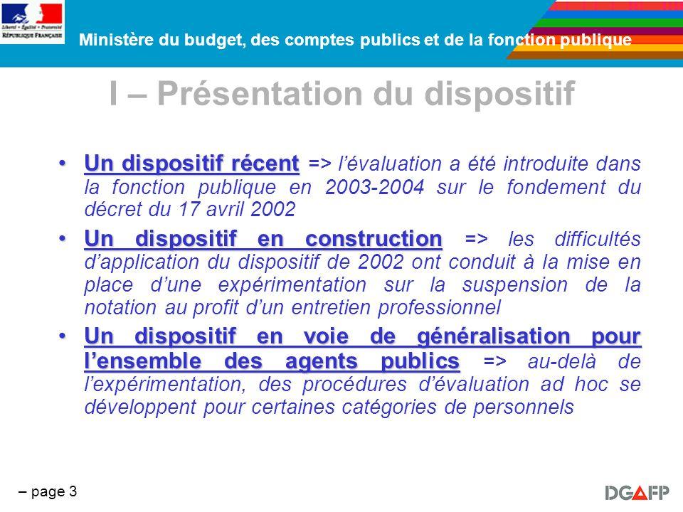 Ministère du budget, des comptes publics et de la fonction publique – page 3 I – Présentation du dispositif Un dispositif récentUn dispositif récent =
