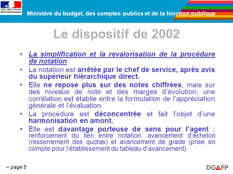 Ministère du budget, des comptes publics et de la fonction publique – page 5 Le dispositif de 2002 La simplification et la revalorisation de la procéd