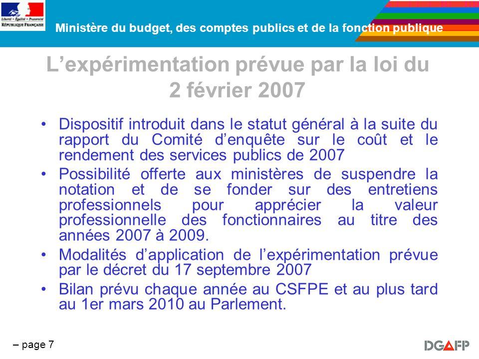 Ministère du budget, des comptes publics et de la fonction publique – page 7 Lexpérimentation prévue par la loi du 2 février 2007 Dispositif introduit