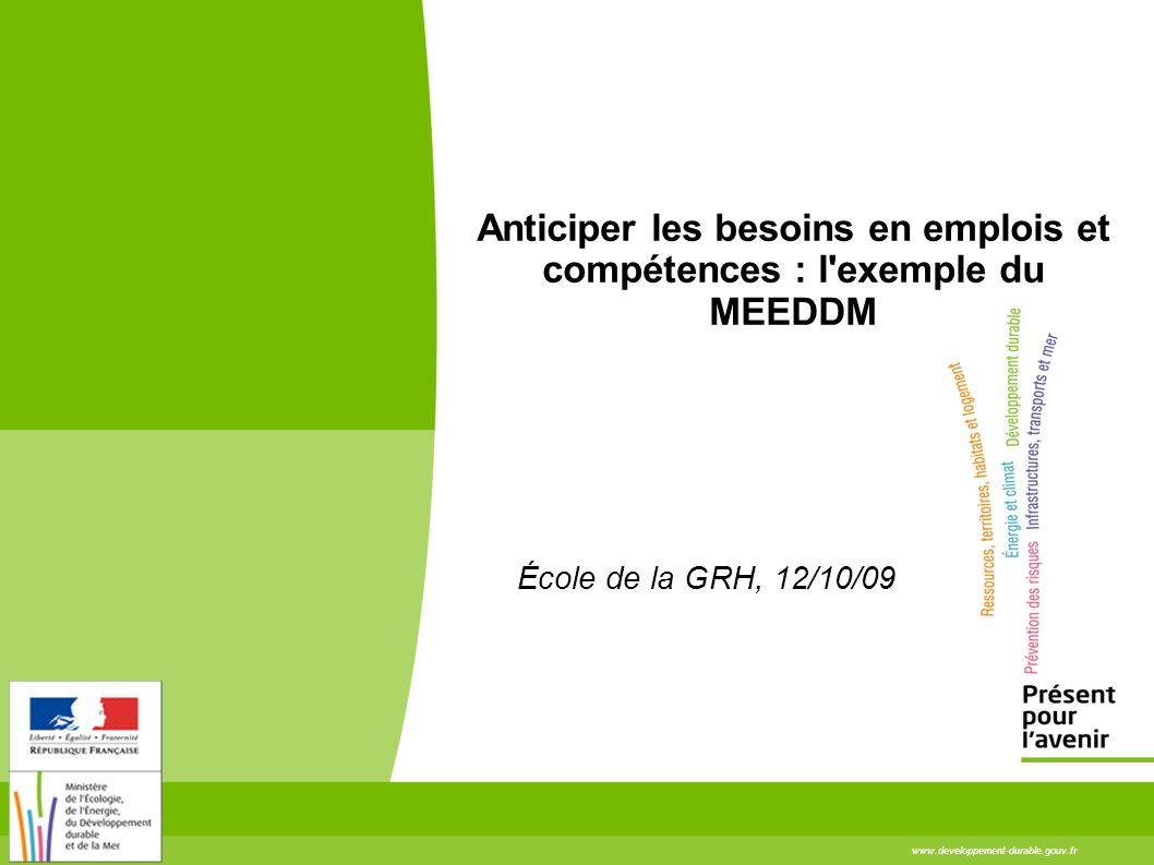www.developpement-durable.gouv.fr Anticiper les besoins en emplois et compétences : l'exemple du MEEDDM École de la GRH, 12/10/09