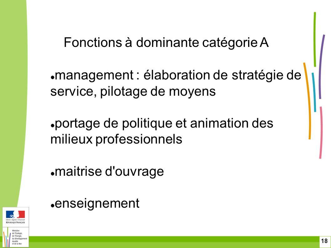 18 Fonctions à dominante catégorie A management : élaboration de stratégie de service, pilotage de moyens portage de politique et animation des milieu