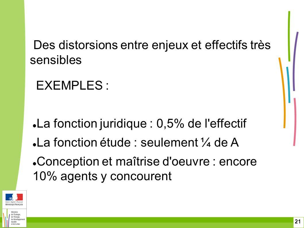 21 EXEMPLES : La fonction juridique : 0,5% de l'effectif La fonction étude : seulement ¼ de A Conception et maîtrise d'oeuvre : encore 10% agents y co