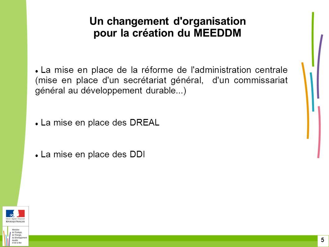 5 La mise en place de la réforme de l'administration centrale (mise en place d'un secrétariat général, d'un commissariat général au développement dura