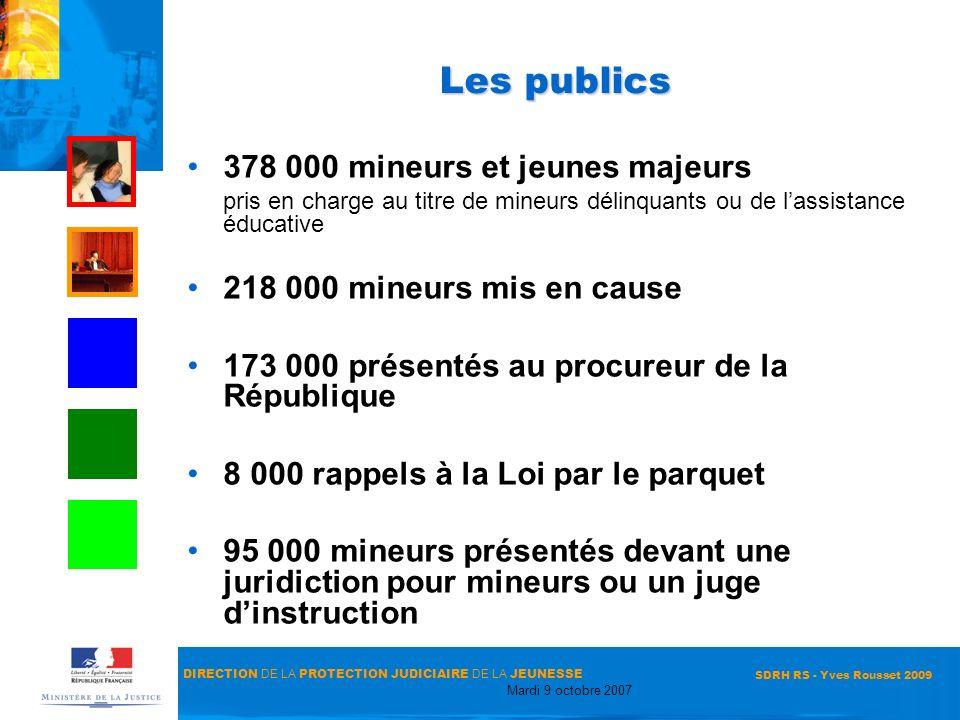 DIRECTION DE LA PROTECTION JUDICIAIRE DE LA JEUNESSE Mardi 9 octobre 2007 SDRH RS - Yves Rousset 2009 Les publics 378 000 mineurs et jeunes majeurs pr