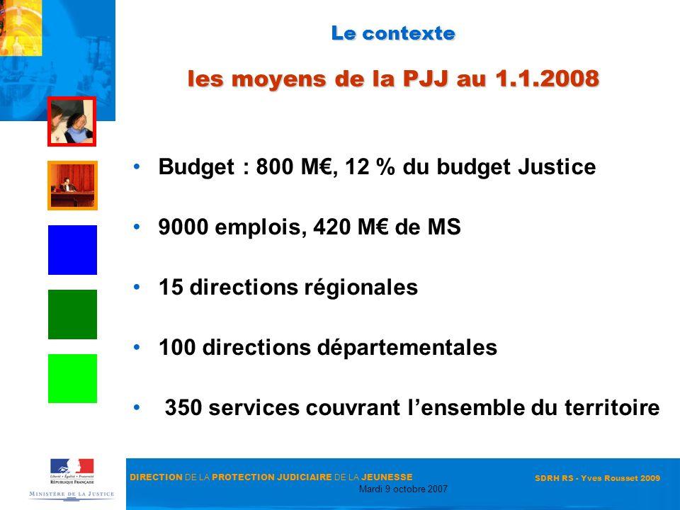 DIRECTION DE LA PROTECTION JUDICIAIRE DE LA JEUNESSE Mardi 9 octobre 2007 SDRH RS - Yves Rousset 2009 Le contexte les moyens de la PJJ au 1.1.2008 Bud