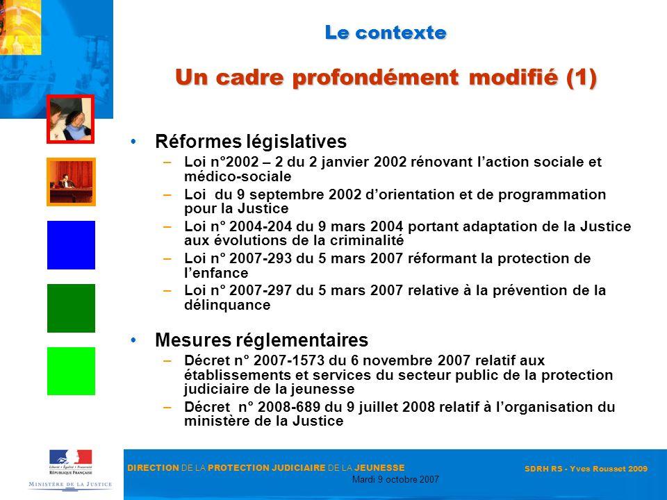 DIRECTION DE LA PROTECTION JUDICIAIRE DE LA JEUNESSE Mardi 9 octobre 2007 SDRH RS - Yves Rousset 2009 Le contexte Un cadre profondément modifié (1) Ré