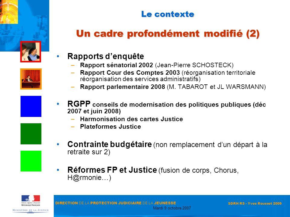 DIRECTION DE LA PROTECTION JUDICIAIRE DE LA JEUNESSE Mardi 9 octobre 2007 SDRH RS - Yves Rousset 2009 Le contexte Un cadre profondément modifié (2) Ra