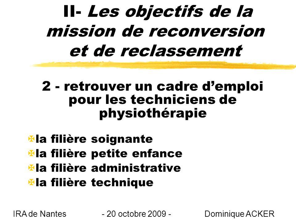 II- Les objectifs de la mission de reconversion et de reclassement 2 - retrouver un cadre demploi pour les techniciens de physiothérapie Xla filière soignante Xla filière petite enfance Xla filière administrative Xla filière technique IRA de Nantes - 20 octobre 2009 - Dominique ACKER