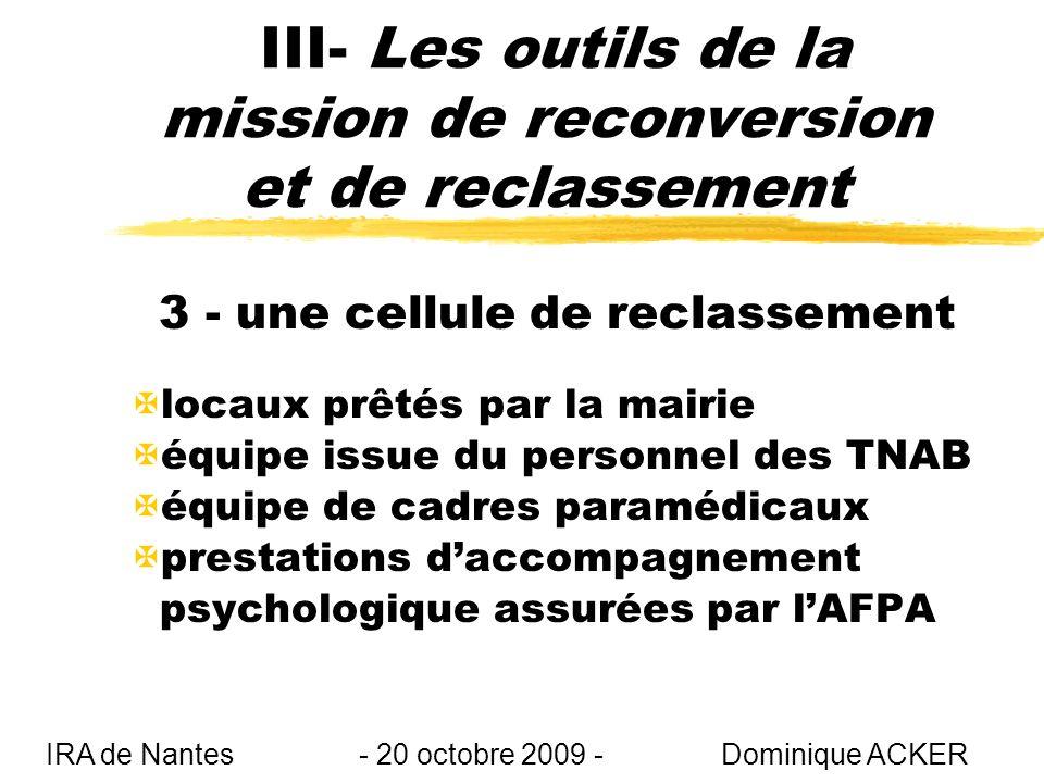 III- Les outils de la mission de reconversion et de reclassement 3 - une cellule de reclassement Xlocaux prêtés par la mairie Xéquipe issue du personnel des TNAB Xéquipe de cadres paramédicaux Xprestations daccompagnement psychologique assurées par lAFPA IRA de Nantes - 20 octobre 2009 - Dominique ACKER