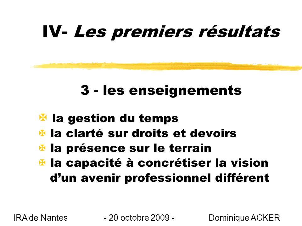 IV- Les premiers résultats 3 - les enseignements X la gestion du temps X la clarté sur droits et devoirs X la présence sur le terrain X la capacité à concrétiser la vision dun avenir professionnel différent IRA de Nantes - 20 octobre 2009 - Dominique ACKER
