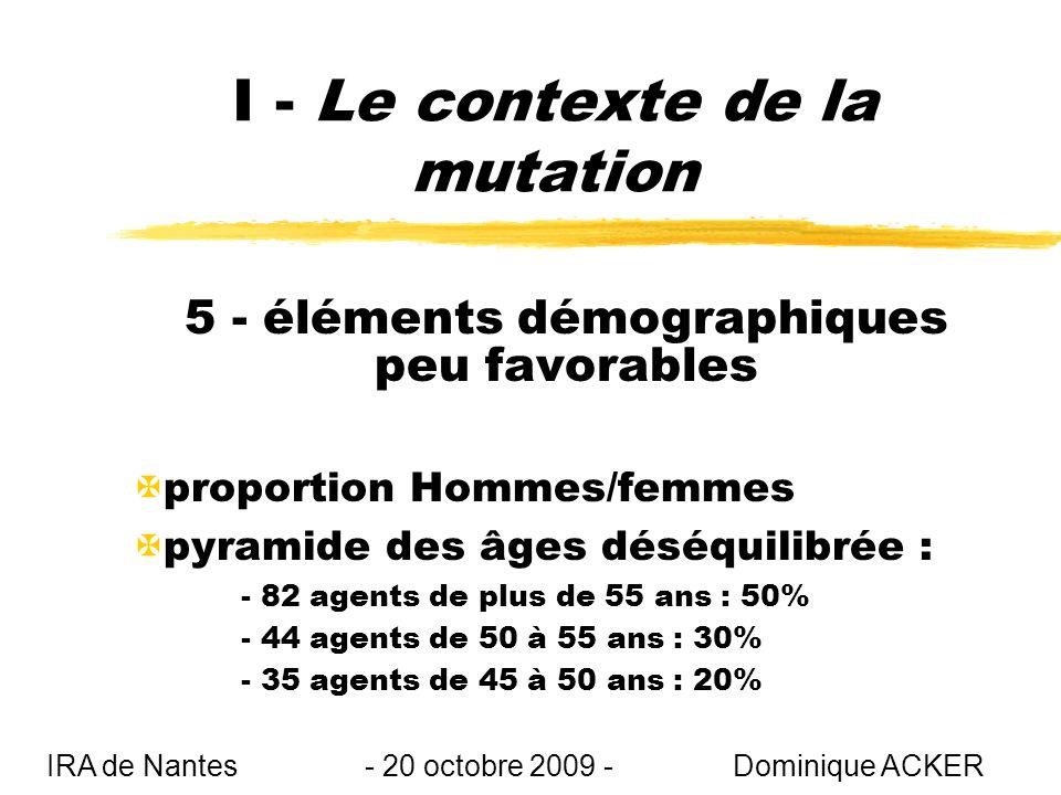 I - Le contexte de la mutation 5 - éléments démographiques peu favorables Xproportion Hommes/femmes Xpyramide des âges déséquilibrée : - 82 agents de plus de 55 ans : 50% - 44 agents de 50 à 55 ans : 30% - 35 agents de 45 à 50 ans : 20% IRA de Nantes - 20 octobre 2009 - Dominique ACKER