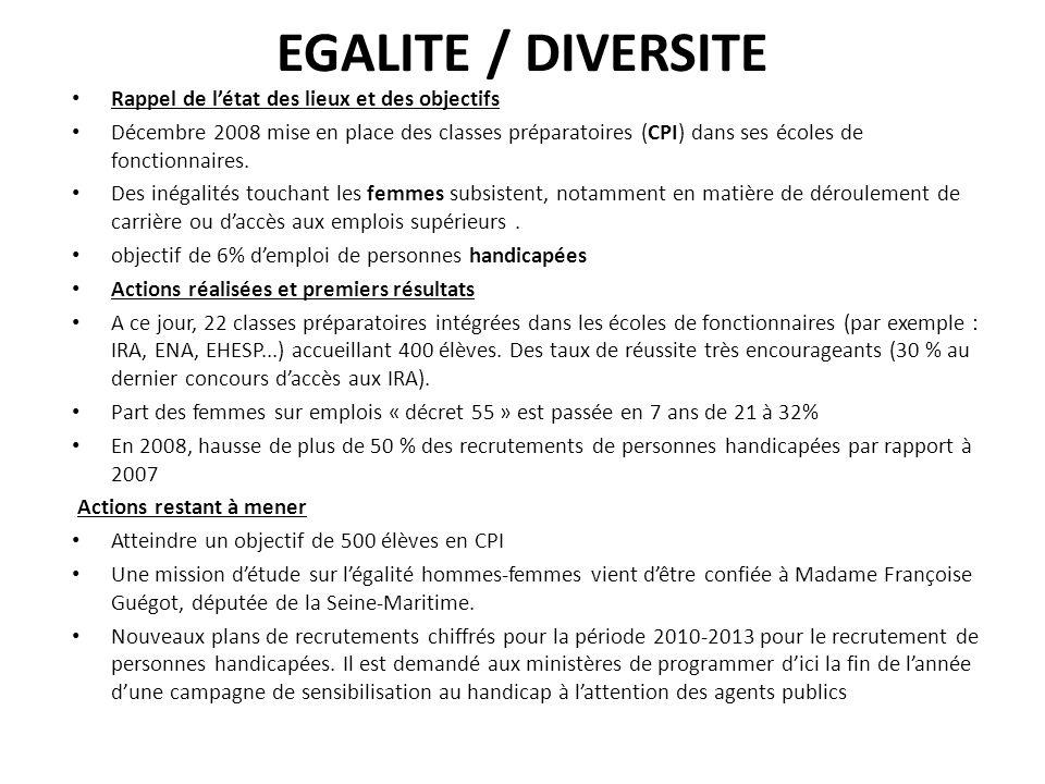 EGALITE / DIVERSITE Rappel de létat des lieux et des objectifs Décembre 2008 mise en place des classes préparatoires (CPI) dans ses écoles de fonction