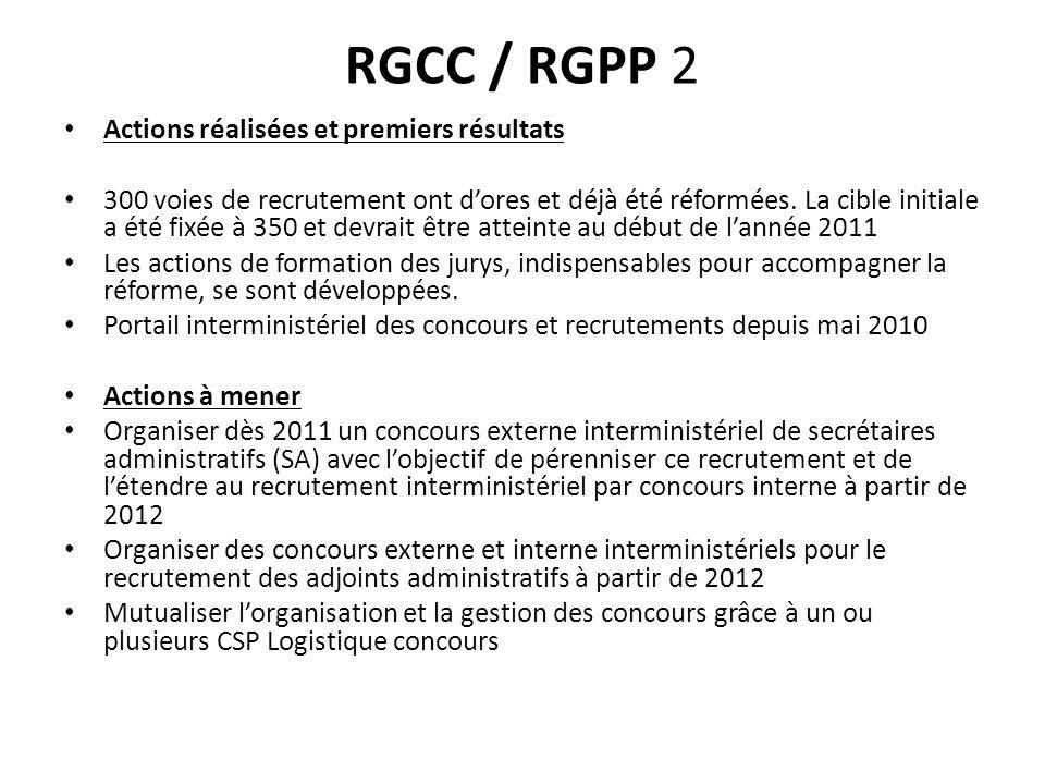 RGCC / RGPP 2 Actions réalisées et premiers résultats 300 voies de recrutement ont dores et déjà été réformées. La cible initiale a été fixée à 350 et