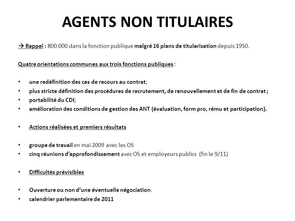 AGENTS NON TITULAIRES Rappel : 800.000 dans la fonction publique malgré 16 plans de titularisation depuis 1950.