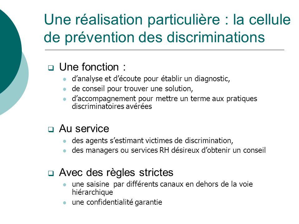 Une réalisation particulière : la cellule de prévention des discriminations Une fonction : danalyse et découte pour établir un diagnostic, de conseil