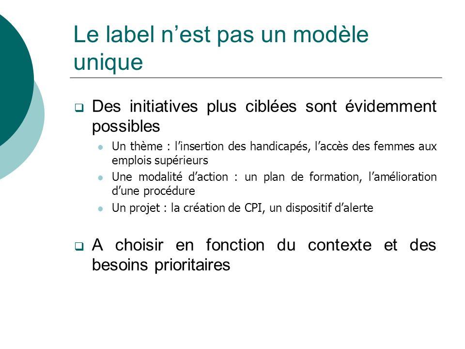 Le label nest pas un modèle unique Des initiatives plus ciblées sont évidemment possibles Un thème : linsertion des handicapés, laccès des femmes aux