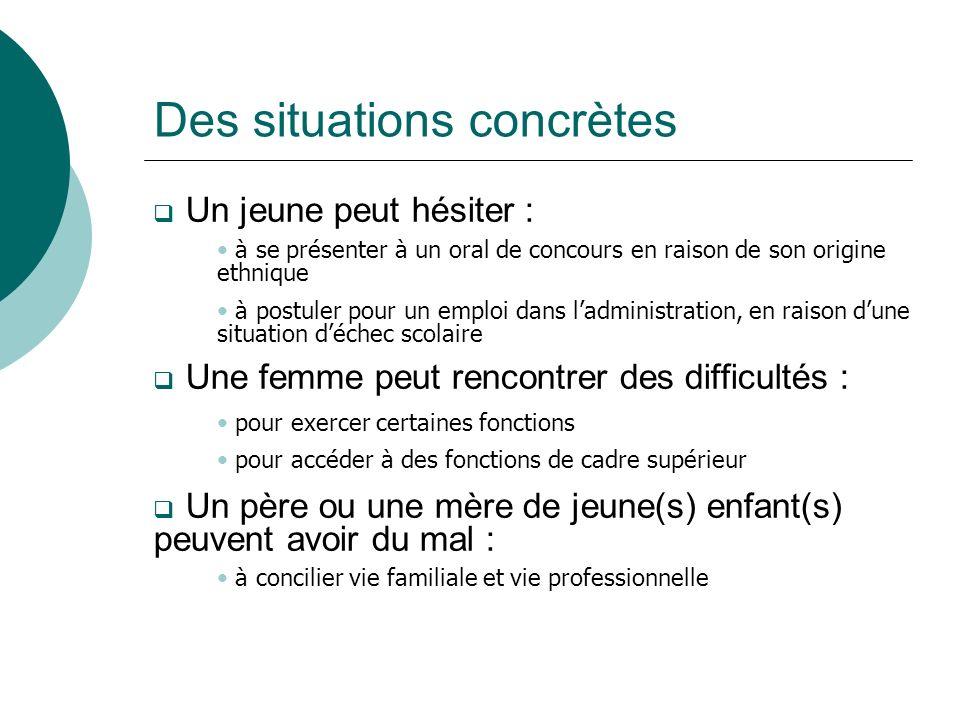 Des situations concrètes Un jeune peut hésiter : Une femme peut rencontrer des difficultés : Un père ou une mère de jeune(s) enfant(s) peuvent avoir d
