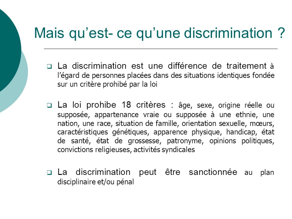 Mais quest- ce quune discrimination .