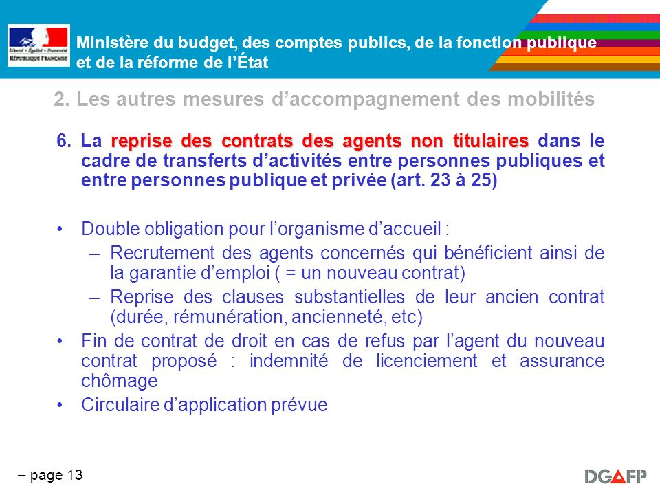 Ministère du budget, des comptes publics, de la fonction publique et de la réforme de lÉtat – page 13 2. Les autres mesures daccompagnement des mobili