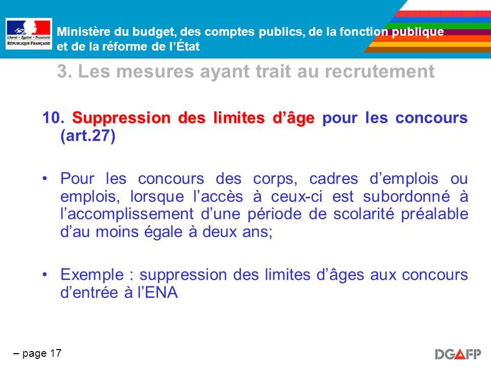 Ministère du budget, des comptes publics, de la fonction publique et de la réforme de lÉtat – page 17 3. Les mesures ayant trait au recrutement Suppre