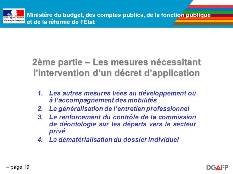 Ministère du budget, des comptes publics, de la fonction publique et de la réforme de lÉtat – page 19 2ème partie – Les mesures nécessitant lintervent