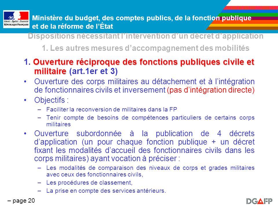 Ministère du budget, des comptes publics, de la fonction publique et de la réforme de lÉtat – page 20 Dispositions nécessitant lintervention dun décre