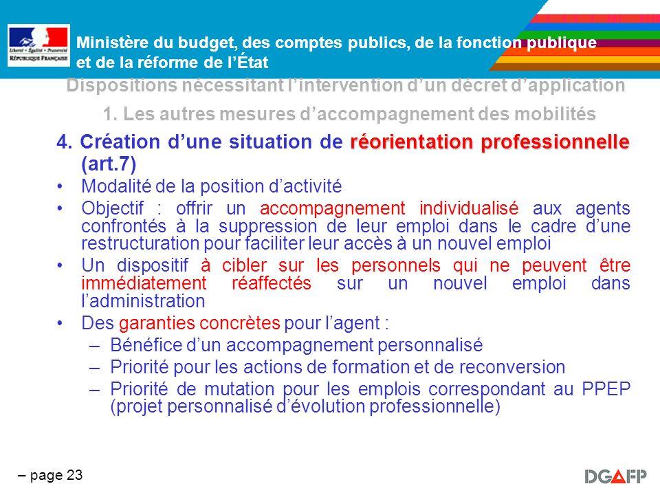 Ministère du budget, des comptes publics, de la fonction publique et de la réforme de lÉtat – page 23 Dispositions nécessitant lintervention dun décre