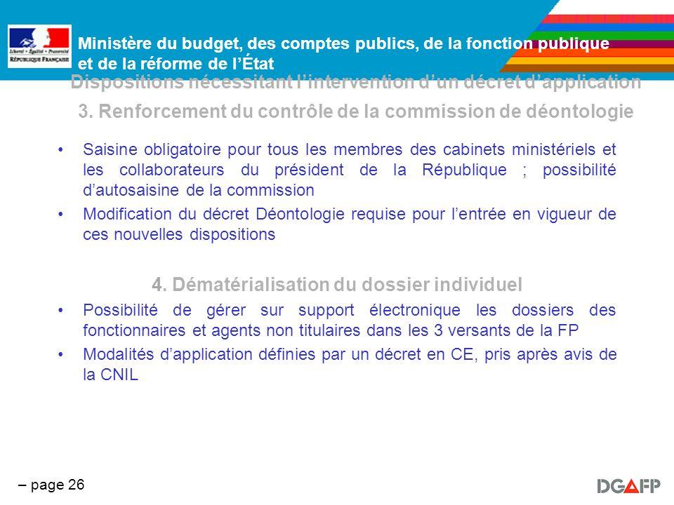 Ministère du budget, des comptes publics, de la fonction publique et de la réforme de lÉtat – page 26 Dispositions nécessitant lintervention dun décre