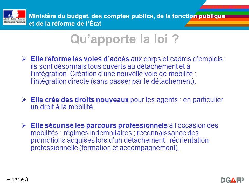 Ministère du budget, des comptes publics, de la fonction publique et de la réforme de lÉtat – page 3 Quapporte la loi ? Elle réforme les voies daccès