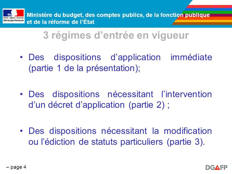 Ministère du budget, des comptes publics, de la fonction publique et de la réforme de lÉtat – page 4 3 régimes dentrée en vigueur Des dispositions dap