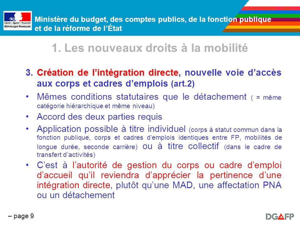 Ministère du budget, des comptes publics, de la fonction publique et de la réforme de lÉtat – page 9 1. Les nouveaux droits à la mobilité Création de