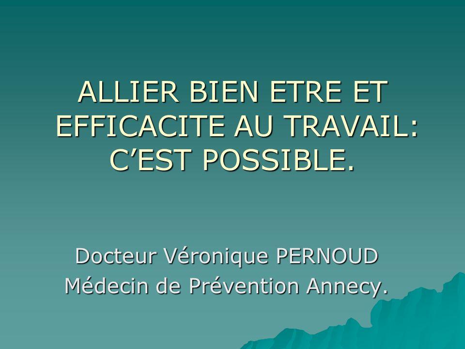 ALLIER BIEN ETRE ET EFFICACITE AU TRAVAIL: CEST POSSIBLE. Docteur Véronique PERNOUD Médecin de Prévention Annecy.