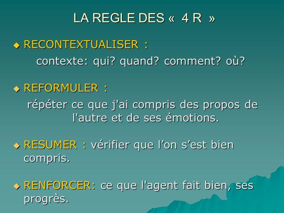 LA REGLE DES « 4 R » RECONTEXTUALISER : RECONTEXTUALISER : contexte: qui? quand? comment? où? REFORMULER : REFORMULER : répéter ce que j'ai compris de