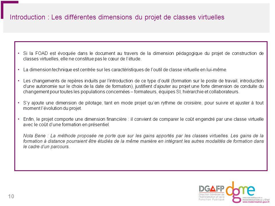 10 Introduction : Les différentes dimensions du projet de classes virtuelles Si la FOAD est évoquée dans le document au travers de la dimension pédago