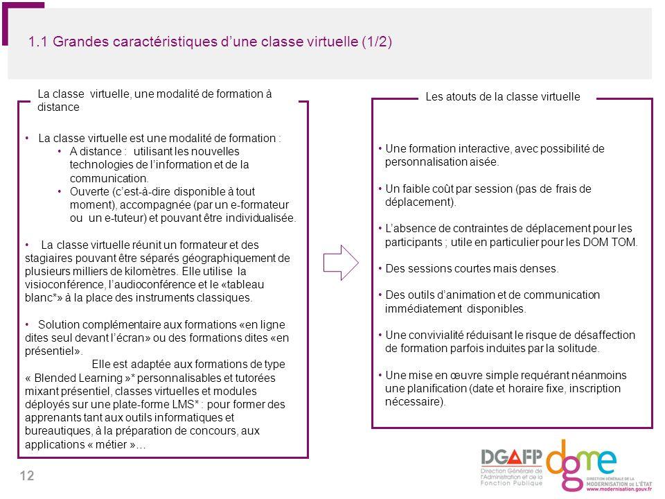 12 1.1 Grandes caractéristiques dune classe virtuelle (1/2) La classe virtuelle est une modalité de formation : A distance : utilisant les nouvelles t