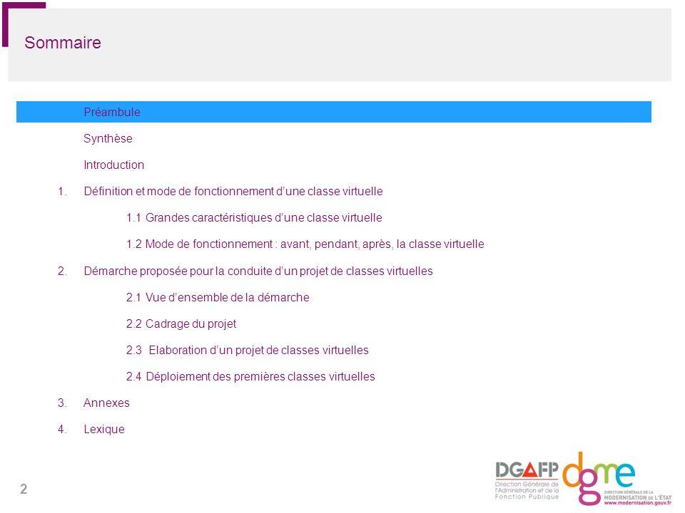 2 Sommaire Préambule Synthèse Introduction 1.Définition et mode de fonctionnement dune classe virtuelle 1.1 Grandes caractéristiques dune classe virtu