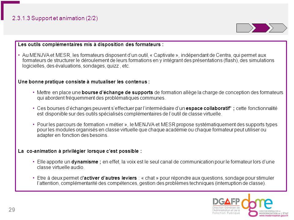 29 2.3.1.3 Support et animation (2/2) Les outils complémentaires mis à disposition des formateurs : Au MENJVA et MESR, les formateurs disposent dun ou